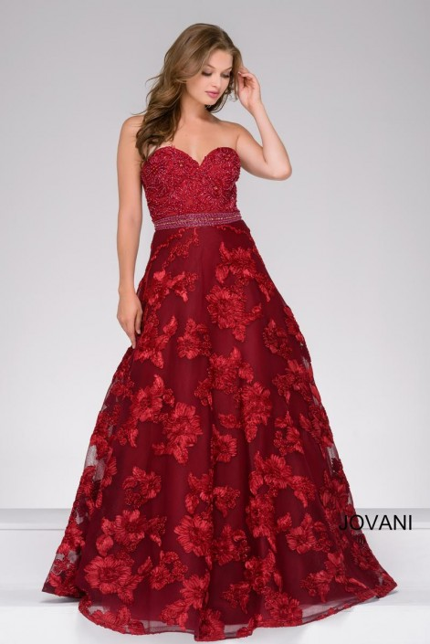 Jovani 47745 Floral Beaded Ball Gown: French Novelty