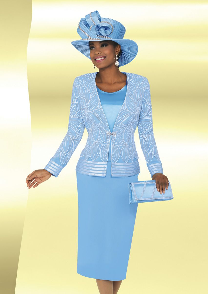 Ben Marc 47763 Womens Sheer Church Suit With Hat French
