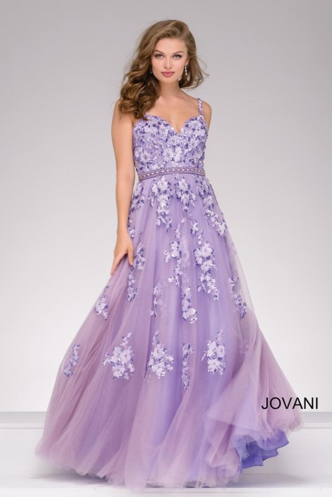Jovani 47763 Lace Applique Ball Gown: French Novelty