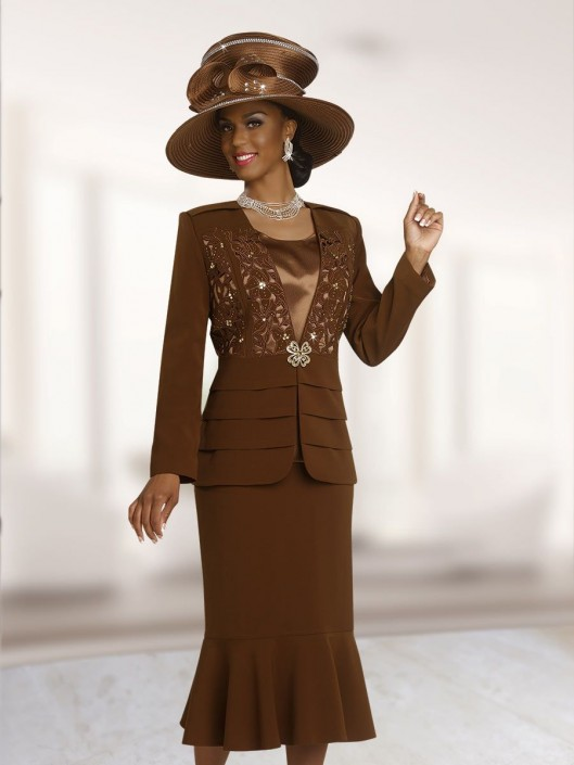 Ben Marc 47831 Womens Brown Church Suit: French Novelty