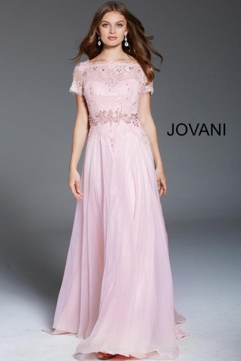 Jovani 47935 Sheer Short Sleeve Evening Dress: French Novelty