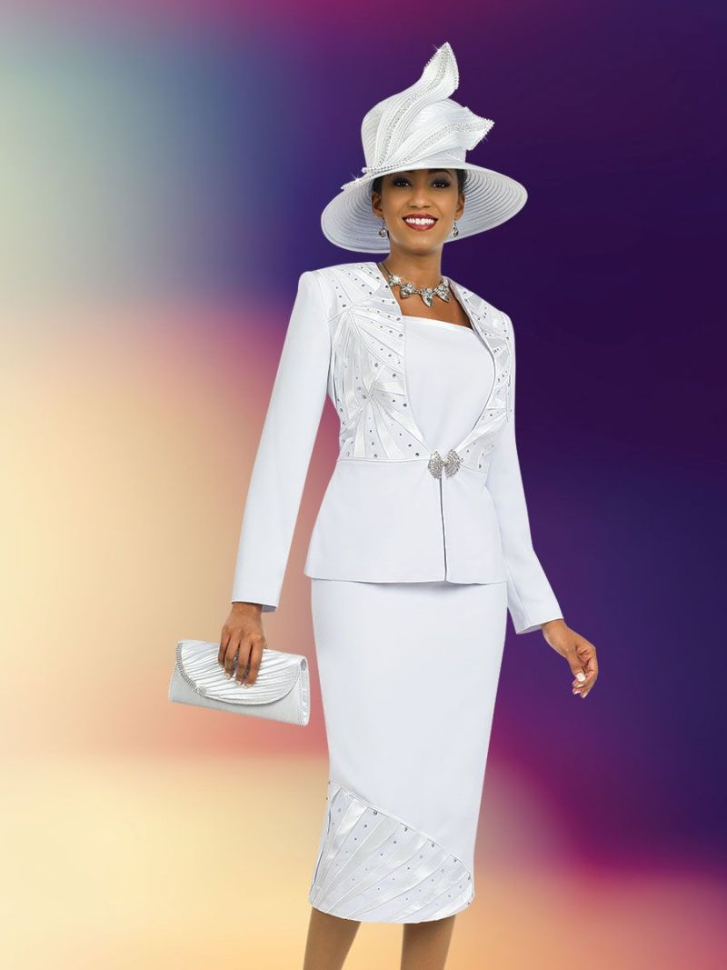 Ben Marc 47996 Womens White Church Suit With Hat And Purse
