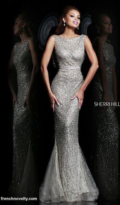 Sherri Hill 4802 Cowl Back Beaded Evening Dress: French Novelty