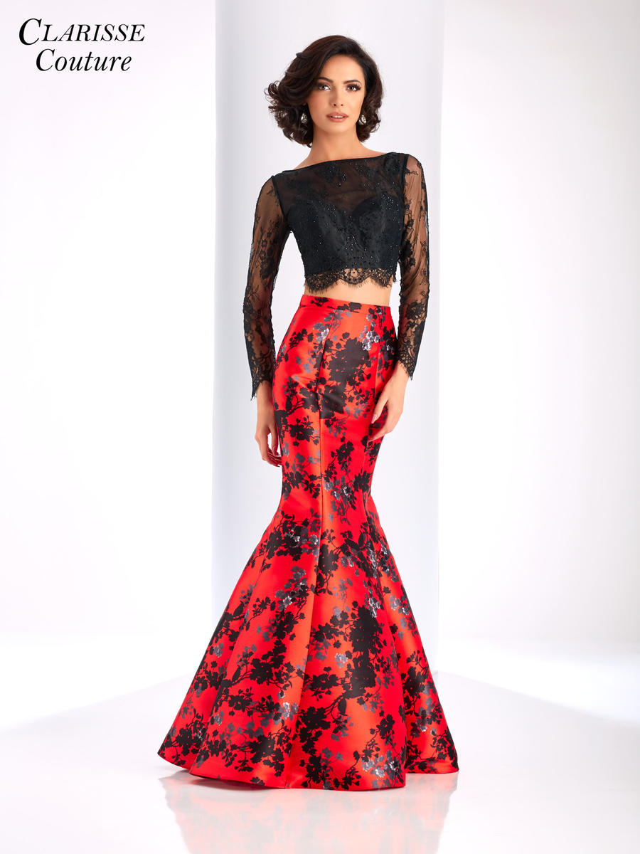 Clarisse Couture 4808 Long Sleeve 2pc Floral Gown French