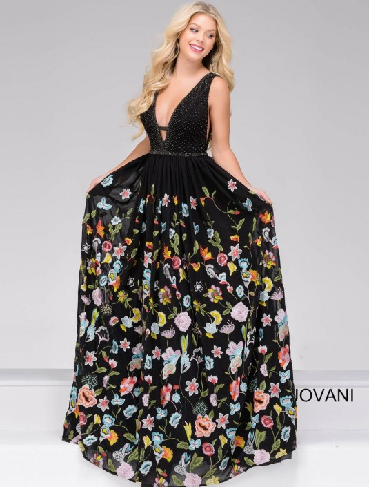 Jovani 48091 Plunging Neck Ball Gown: French Novelty