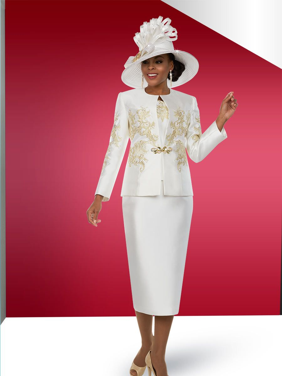 Ben Marc 48101 Ladies Off White Church Suit With Gold