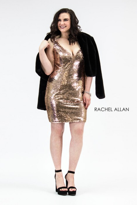 Rachel Allan 4811 Plus Size Short Sequin Dress with Jacket: French ...