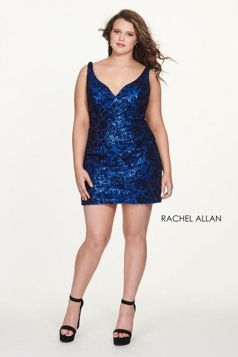 4672e32b4f2 Rachel Allan 4812 Plus Size Short Sequin Velvet Dress  French Novelty