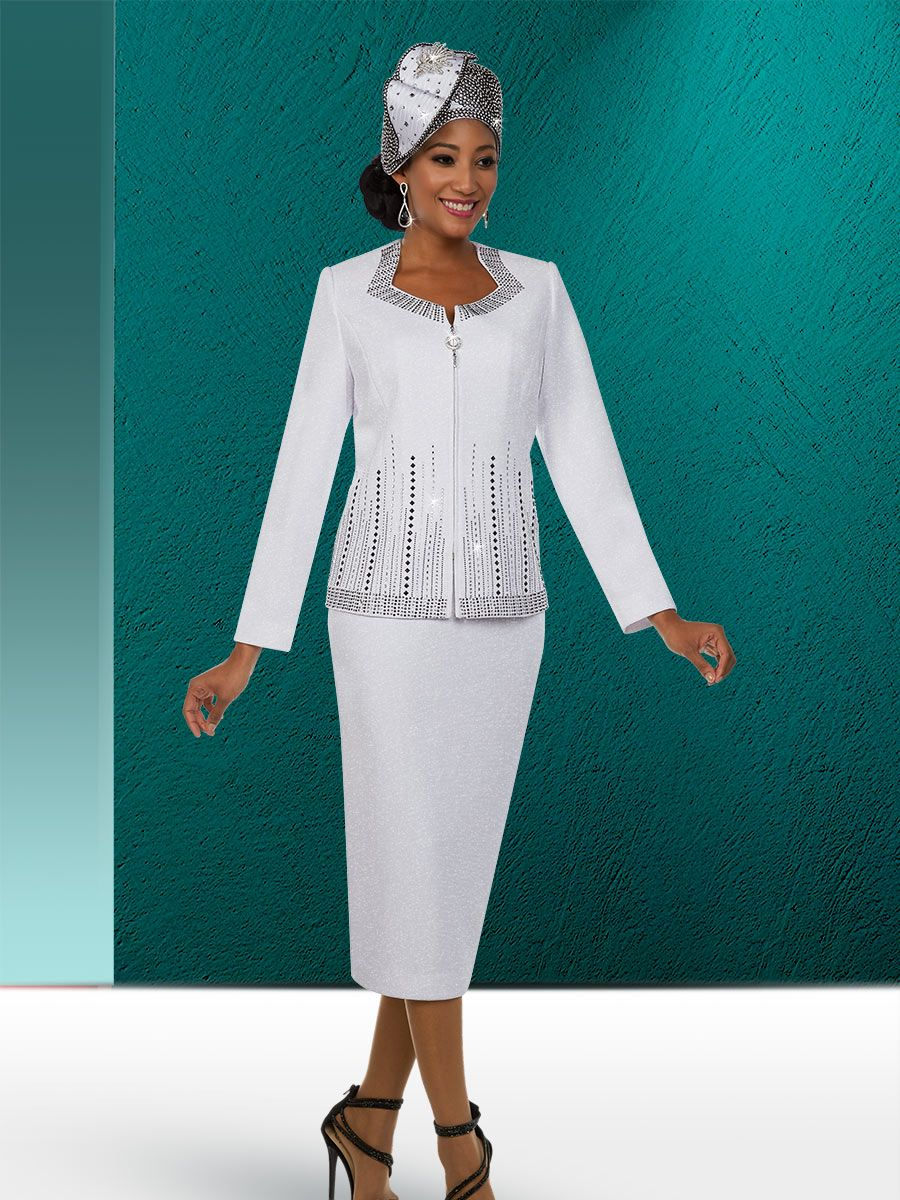 Ben Marc 48125 Ladies Beaded Knit Church Suit French Novelty