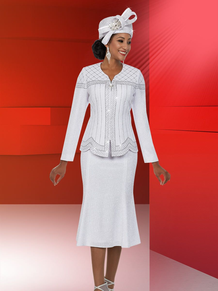 Ben Marc 48127 Ladies White Knit Church Suit French Novelty