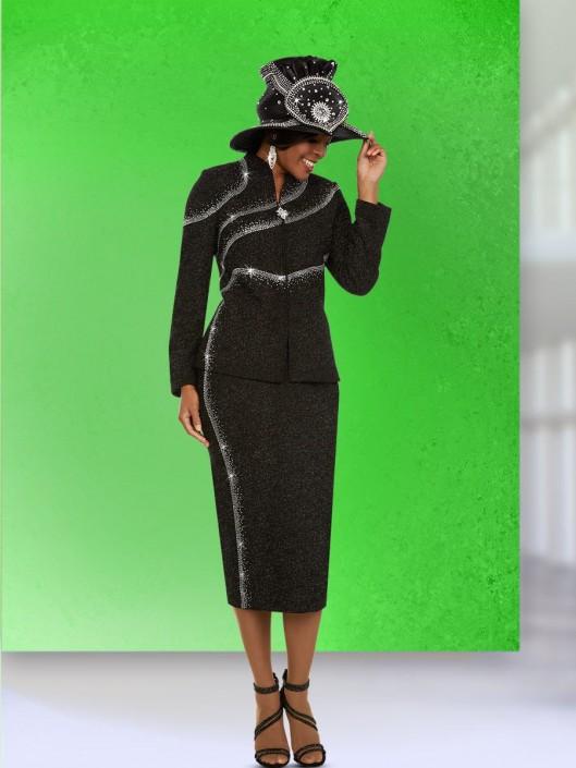 00633122e3c Ben Marc 48131 Ladies Asymmetric Sparkling Knit Suit  French Novelty