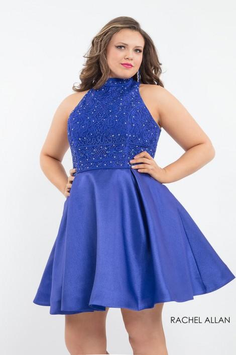 Rachel Allan 4817 Plus Size Short Lace Up Back Dress French Novelty