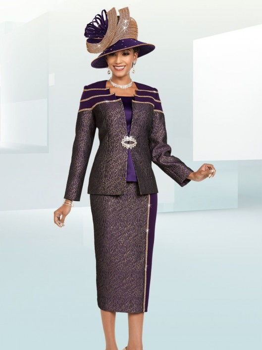 Ben Marc 48173 Ladies Embellished Brocade Church Suit French Novelty
