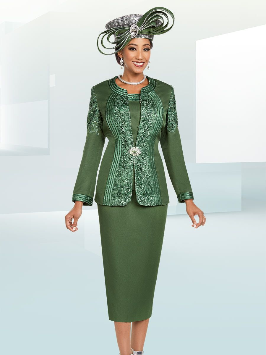Ben Marc 48180 Ladies 3 Piece Church Suit With Lace French Novelty