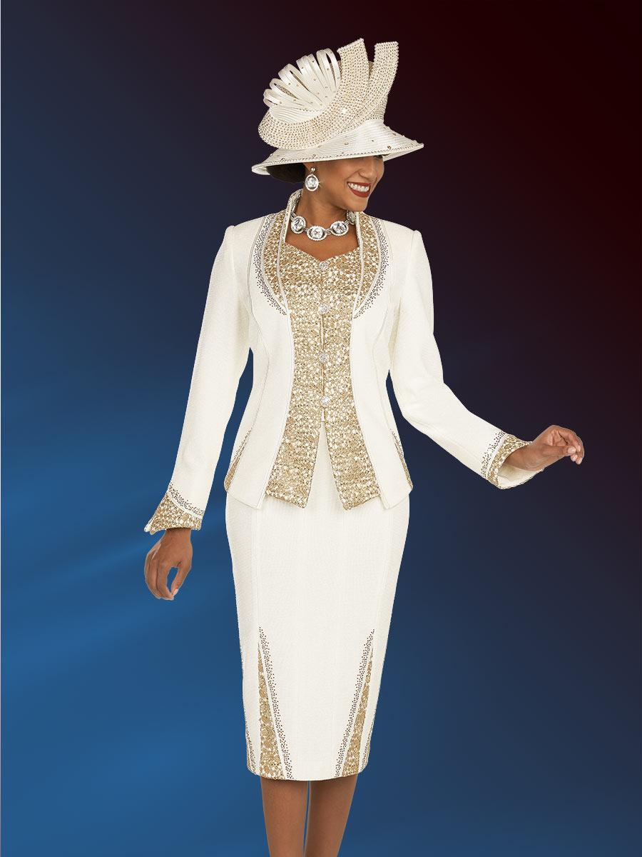 Ben Marc 48200 Ladies Gold Embellished Church Suit French