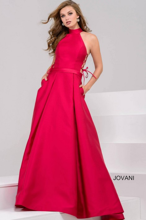 Jovani 48270 Lace Up Cutout Side Gown: French Novelty