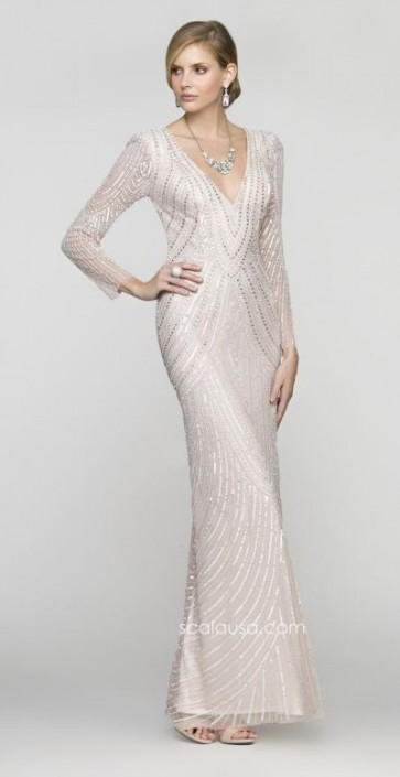 Scala 48312 Long Sleeve Deep V Neck Sequin Formal Dress French Novelty