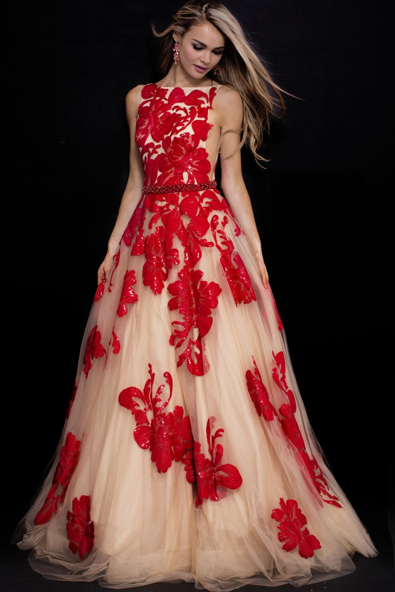 Jovani 48320 Gown With Floral Embellishment French Novelty