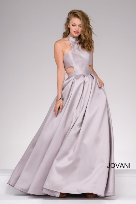 Jovani 48343 Side Cut Out Ball Gown: French Novelty