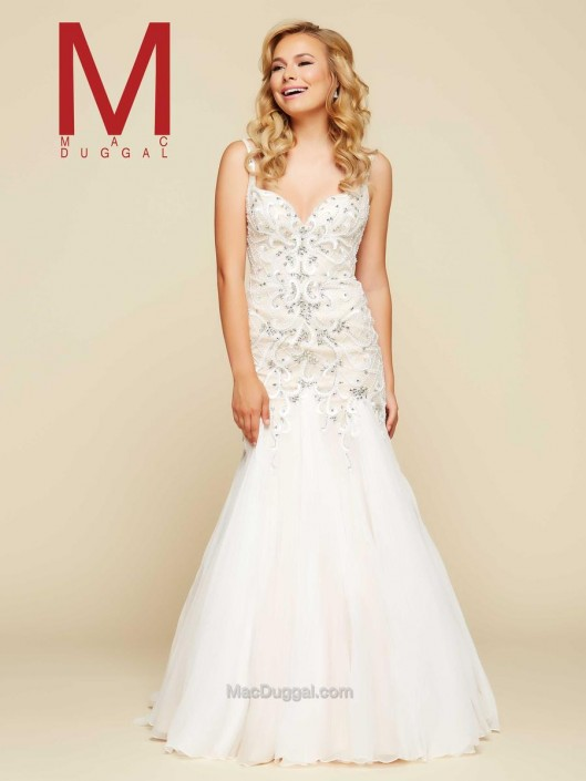 Mac Duggal 48357H Lace Trumpet Ball Gown: French Novelty
