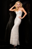 Size 12 Lead Scala 48407 Long Beaded Prom Dress image