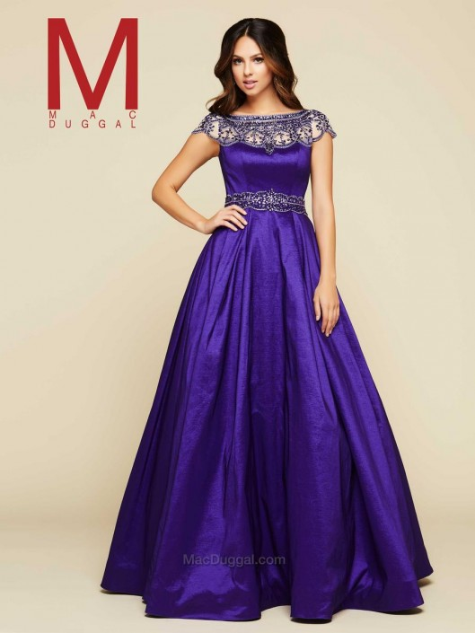 Mac Duggal 48421H Short Sleeve Ball Gown: French Novelty