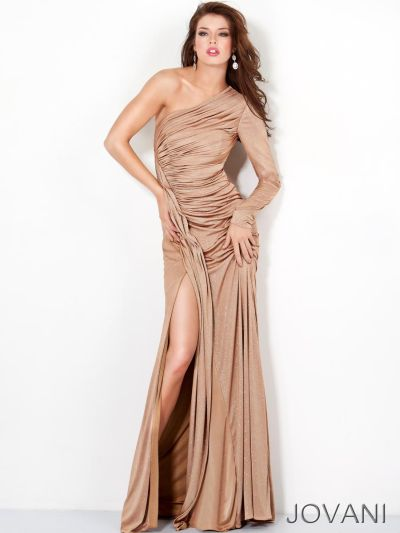 Jovani One Sleeve Ruched Formal Dress 4846 French Novelty