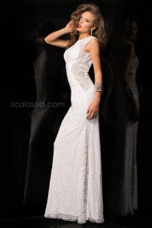 805915363c Scala 48467 Cap Sleeve High Neck Gown