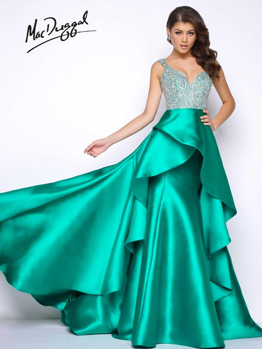 Mac Duggal Prom 48501m Gown With Waterfall Overskirt