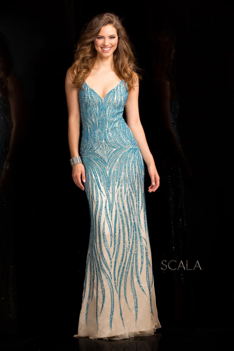 Scala 48554 Deep V Neck Fully Beaded Gown French Novelty