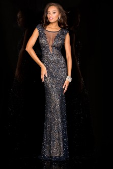4b9d1cccc0 Scala 48569 Beaded Gown with Sheer V Panel
