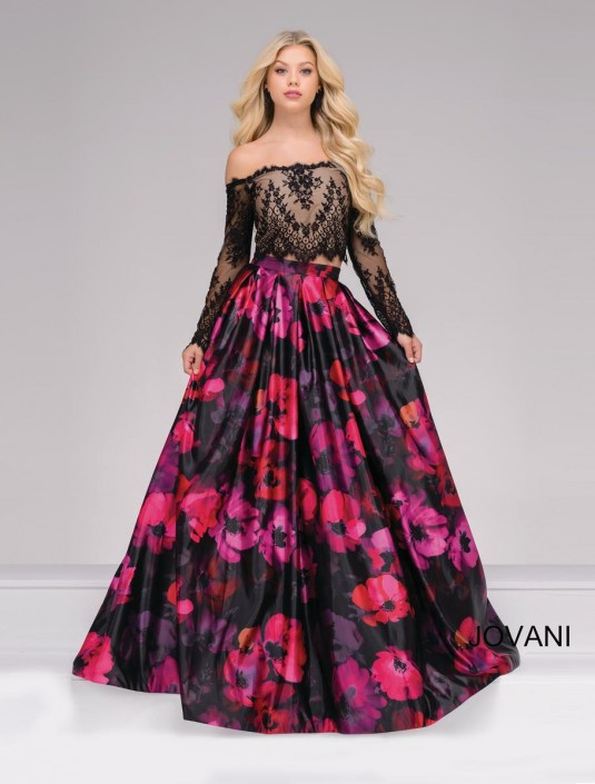 Jovani 48690 Sheer Long Sleeve 2 Piece Floral Gown: French Novelty