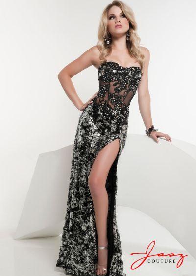 Jasz 4870 Black Silver Lace Bustier Evening Dress: French Novelty