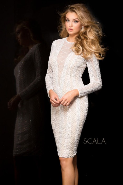 Scala 48728ml Long Sleeve Beaded Medium Length Cocktail Dress