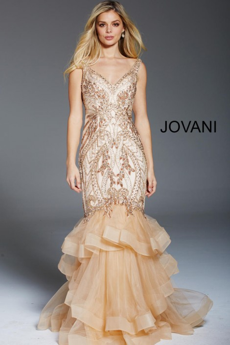 6ff9d34857d59 Jovani 48729 Embellished Mermaid Dress with Cape: French Novelty