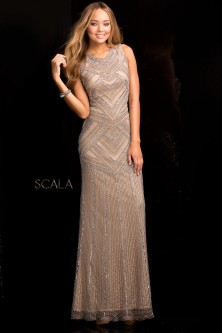 2fa4fdca51 Scala 48730 Fully Beaded Evening Dress Quick View. Scala 48730 Fully Beaded Evening  Dress.  397.99. Scala 48312 Long Sleeve Deep V Neck Sequin ...