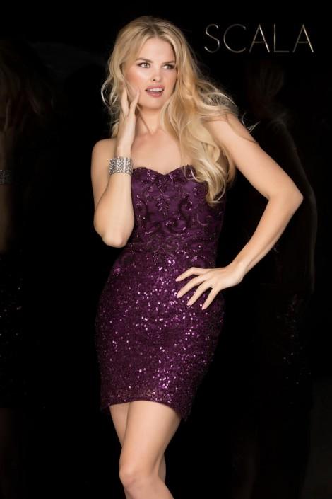 Scala 48745 Sparkling Short Prom Dress: French Novelty