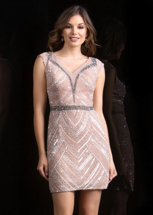 Scala 48763 Cap Sleeve Short Beaded Prom Dress: French Novelty