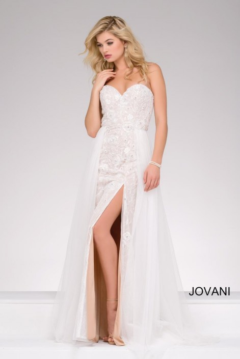 Jovani 48796 Lace Gown with Chiffon Overskirt: French Novelty
