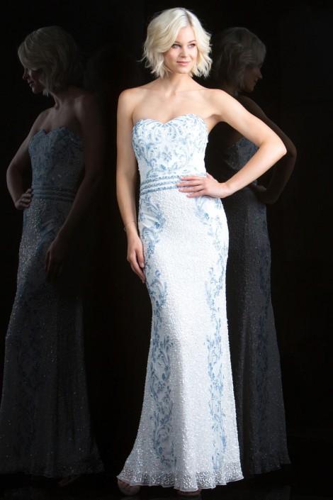 Scala 48835 Long Beaded Prom Dress: French Novelty