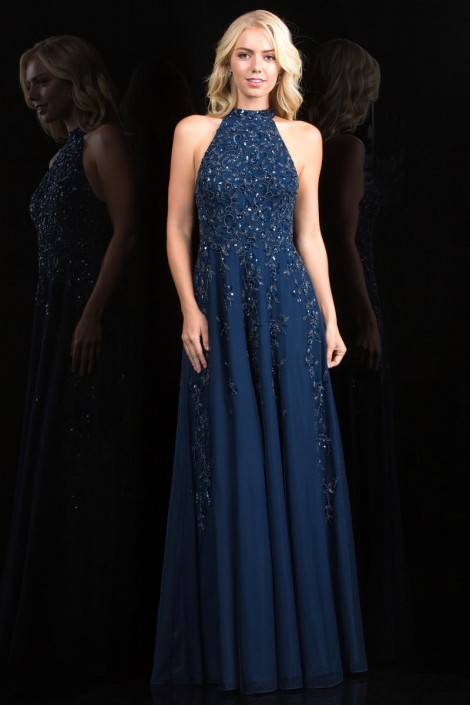 Scala 48858 Flowing Prom Gown With Beading French Novelty