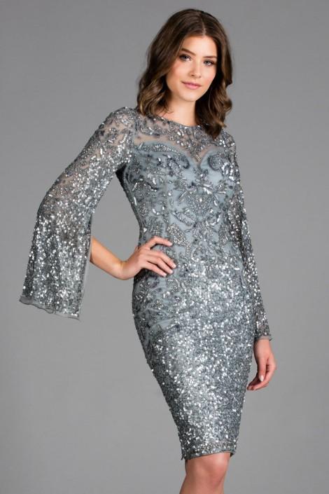 c09284ab5ef Scala 48885 Slit Long Sleeve Beaded Cocktail Dress  French Novelty