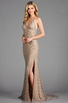 e6ba434491 Scala 48923 Beaded Gown with High Slit
