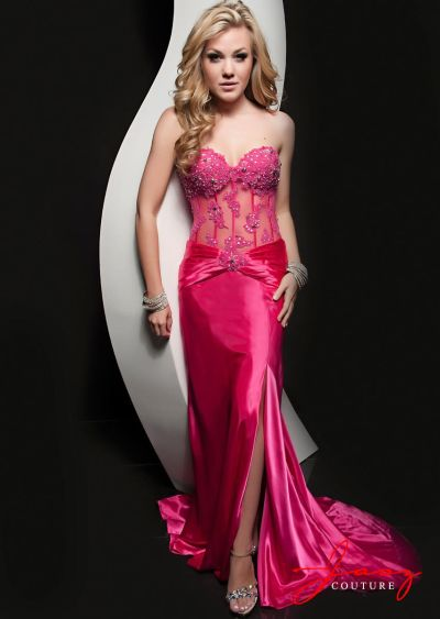 Jasz 4901 Embellished Lace Corset Evening Dress: French Novelty