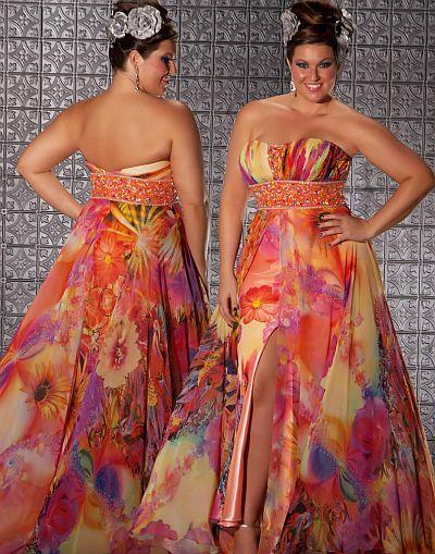 Fabulouss Orange Print Plus Size Prom Dress By Macduggal