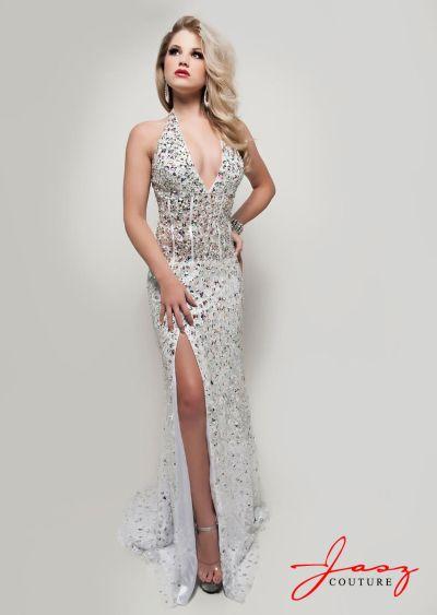 Jasz 4907 Plunging V Neck Corset Halter Formal Dress: French Novelty