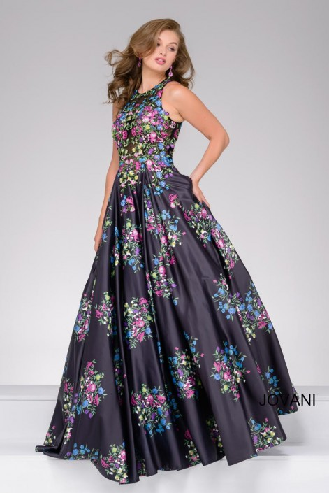 d74f02983fa87 Jovani 49225 Floral A-Line Prom Dress  French Novelty
