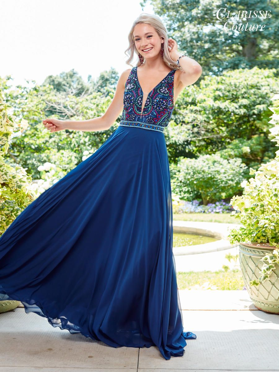 clarisse couture 4925 flowing chiffon prom dress french