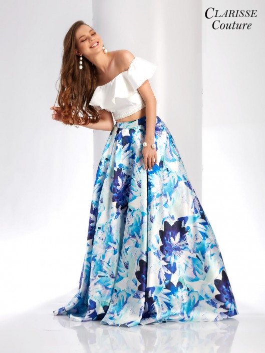 1014e3489c57 Clarisse Couture 4937 Off Shoulder 2pc Floral Prom Dress: French Novelty