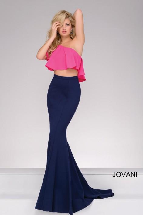 Jovani 49532 One Shoulder 2 Piece Prom Dress: French Novelty